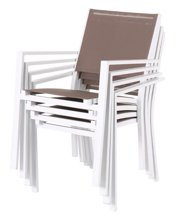 Silla Thais apilable aluminio textileno blanco topo