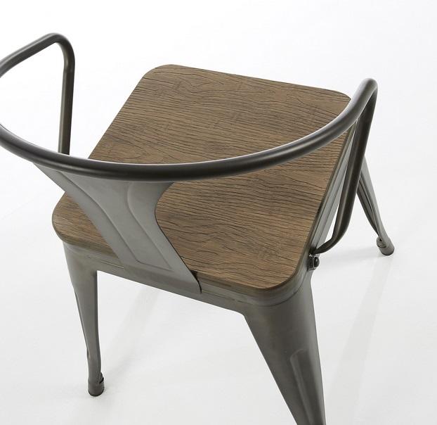 Silla brazos industrial Tolix metal grafito madera