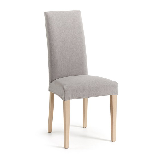 Silla tradition madera natural tela gris
