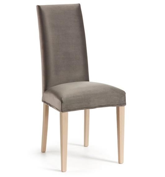 Silla velvet madera natural terciopelo gris