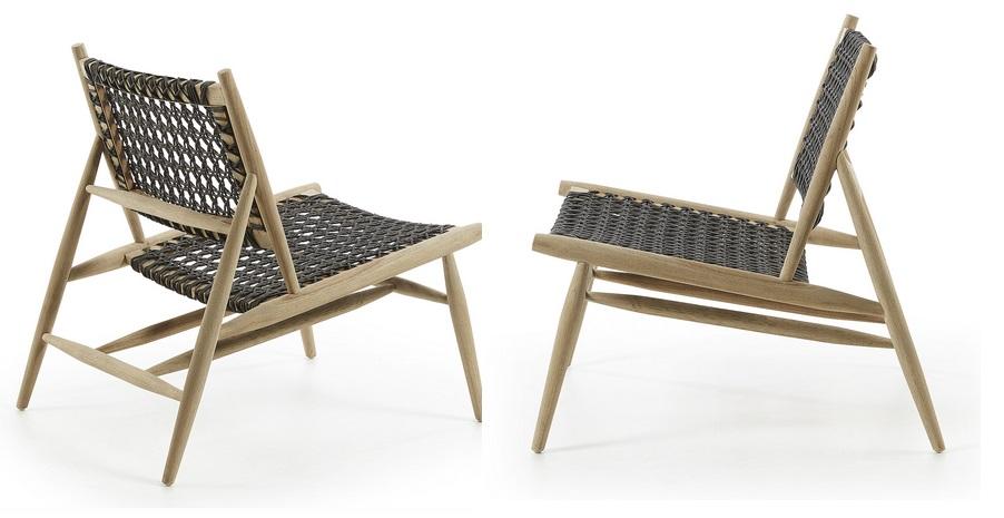 Sillon madera de teca y cuerda gris Moli