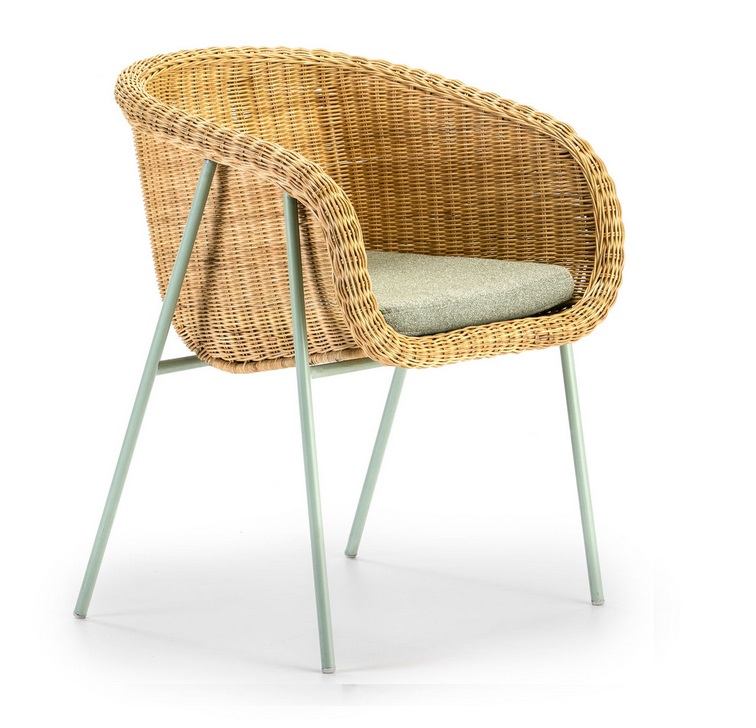 Sillon palma ratan natural pie verde