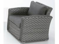 Sofa rattan gris Lura una plaza