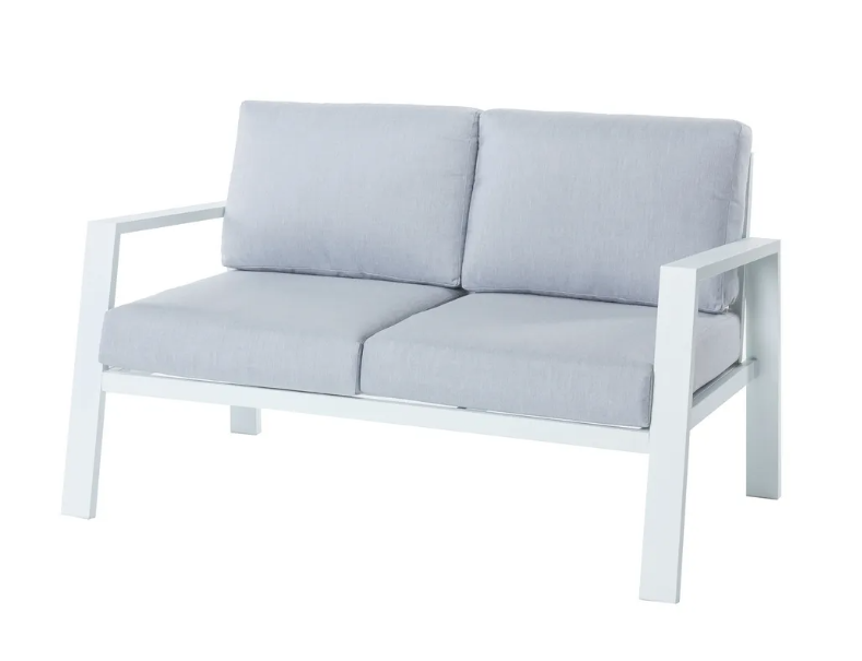 Sofa 2 plazas Thais aluminio blanco