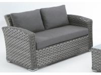 Sofa rattan gris Lura dos plazas