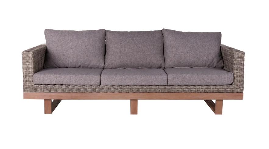 Sofa 3 plazas Patsy de madera y ratan gris