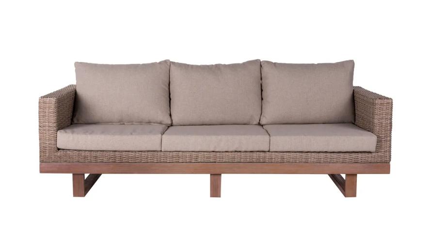 Sofa 3 plazas Patsy de madera y ratan natural