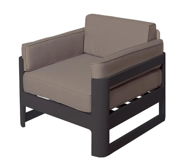 Sofa 1 plaza Aisha aluminio grafito