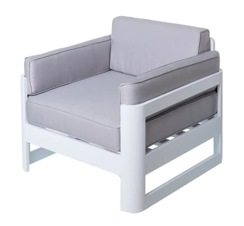 Sofa 1 plaza Aisha aluminio blanco
