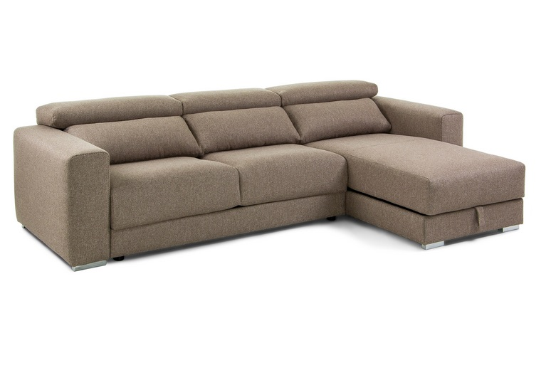 Sofa binari deslizante 3 plazas chaise longue tela marron