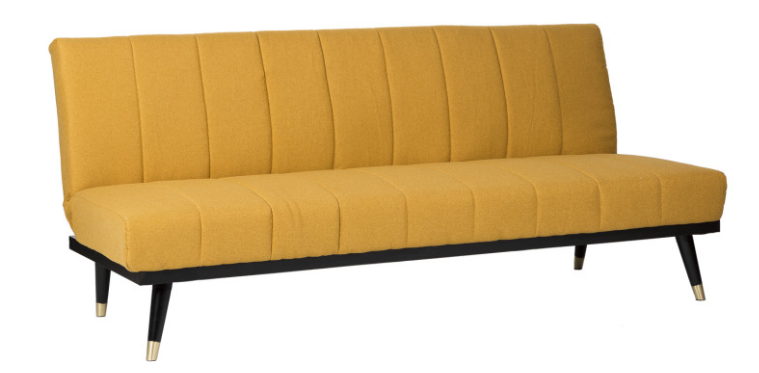 Sofa cama Madrid  tapizado en color mostaza 3 plazas