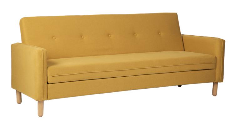 Sofa cama DELHI  tapizado en color mostaza