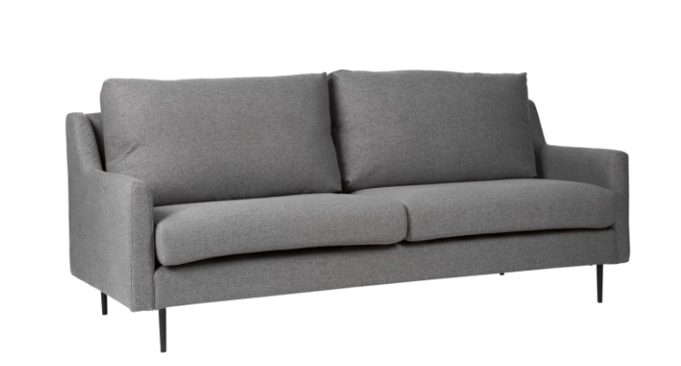 Sofa London tapizado en color gris oscuro 3 plazas