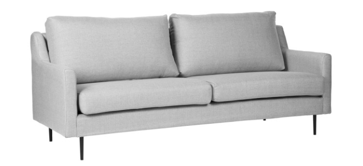 Sofa London tapizado en color gris claro 3 plazas