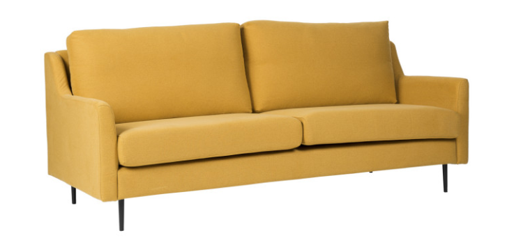 Sofa London tapizado en color mostaza 3 plazas