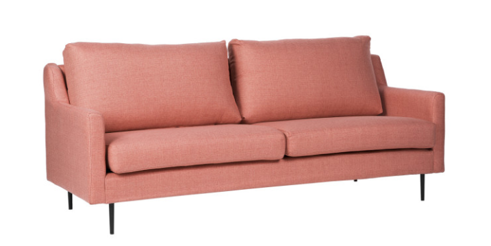 Sofa London tapizado en color rose 3 plazas