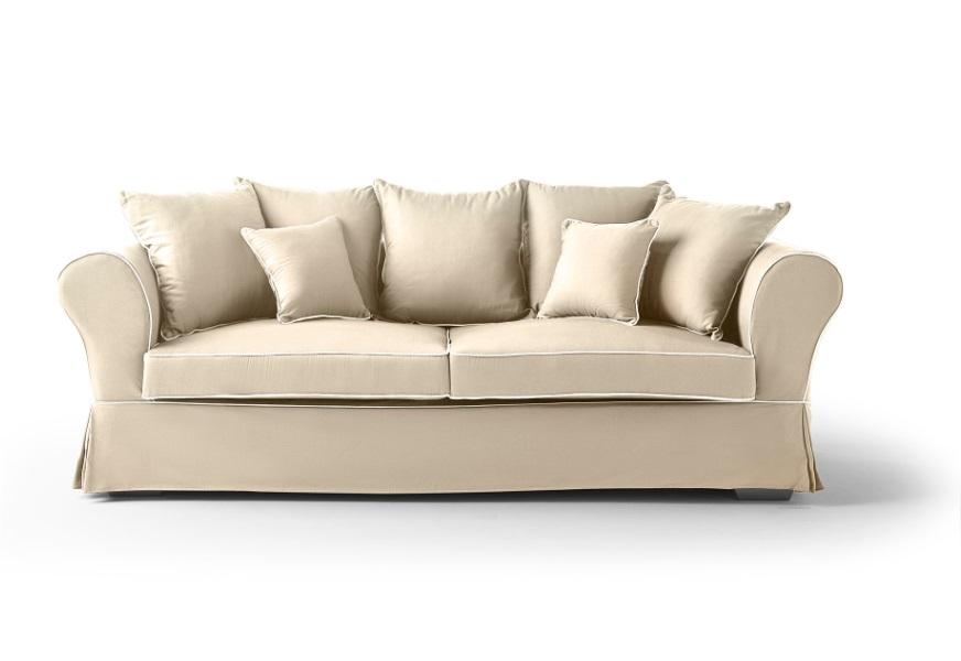 Sofa Mozart tela beige 3 plazas
