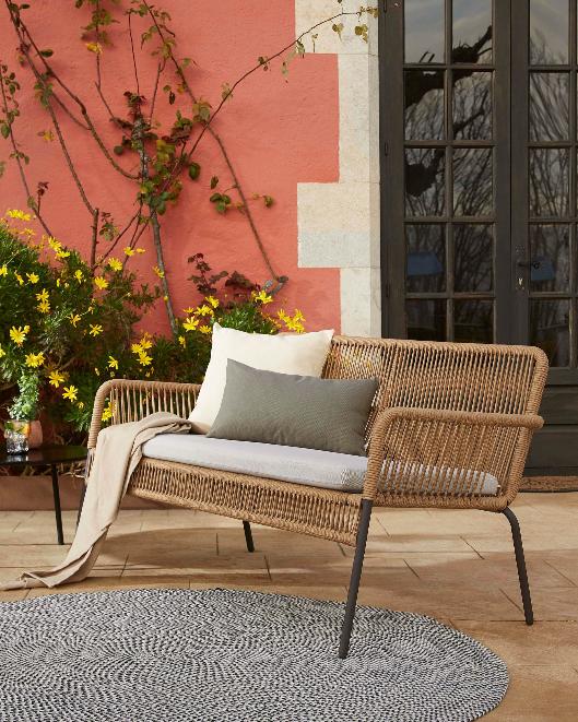 Sofa Rodos color beige 2 plazas 133 cm