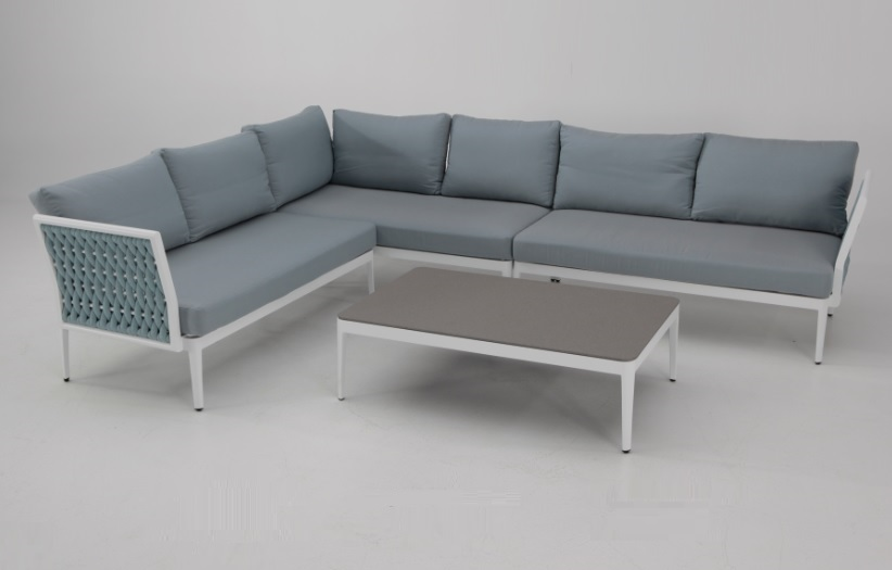 Sofa terraza rinconera Basel aluminio blanco cuerda azul