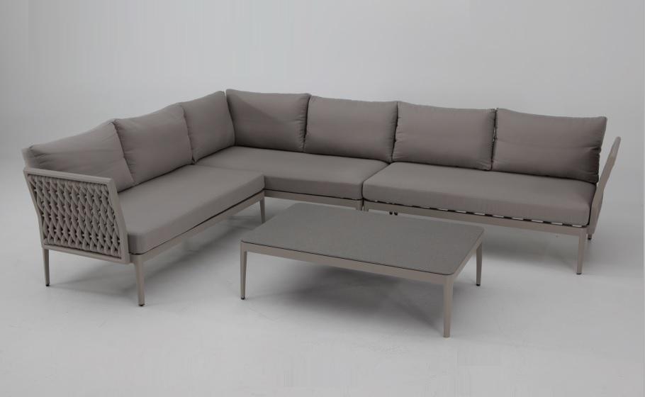 Sofa terraza rinconera Luzern aluminio taupe cuerda beige