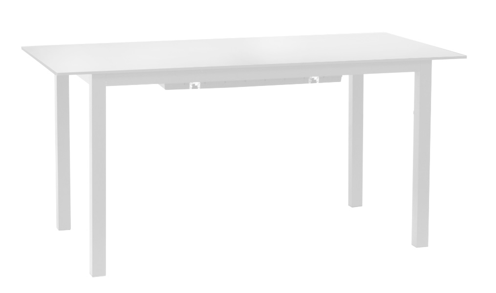 Mesa extensible aluminio cristal blanco Auto 156-226x75