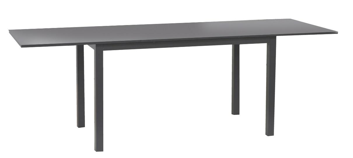Mesa extensible aluminio cristal negro Auto 156-226x75
