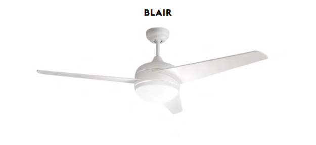Ventilador de techo con luz Blair blanco
