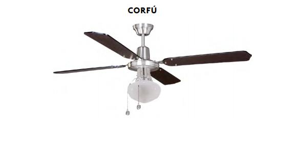 Ventilador de techo con luz Corfu niquel satinado