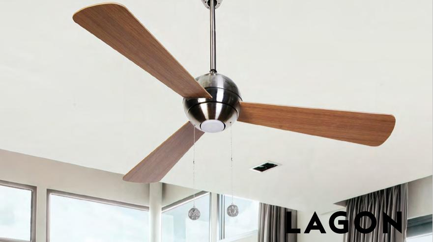 Ventilador de techo con luz Lagon madera roble nogal