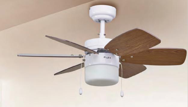 Ventilador de techo con luz Nuku blanco roble