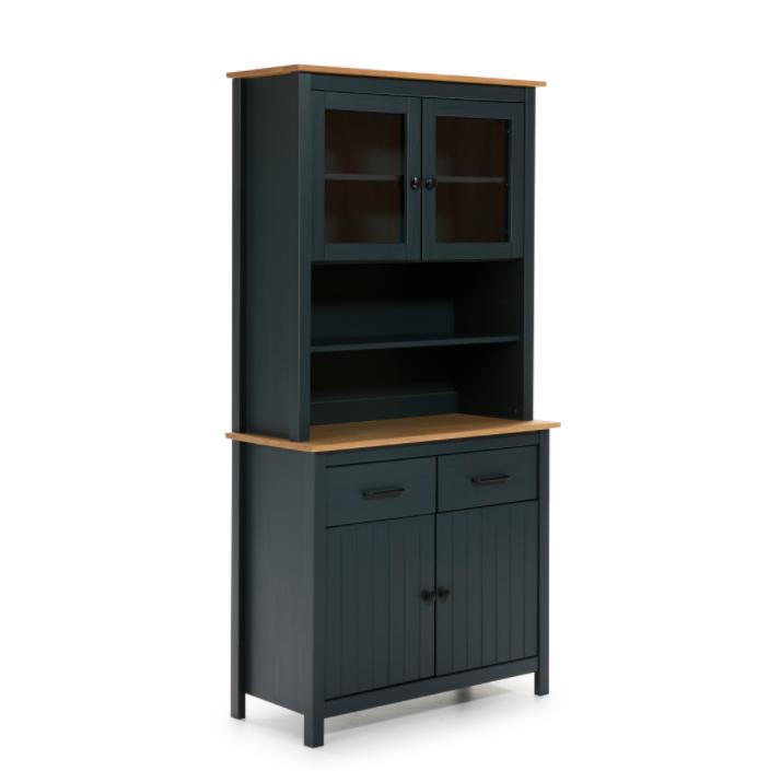 Mueble vitrina Miranda madera azul 90 cm