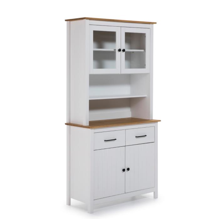 Mueble vitrina Miranda madera blanco 90 cm