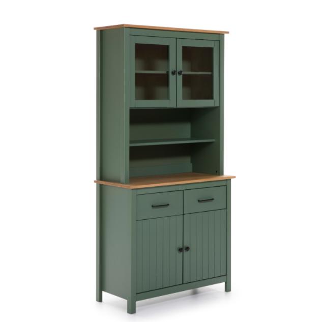 Mueble vitrina Miranda madera verde 90 cm