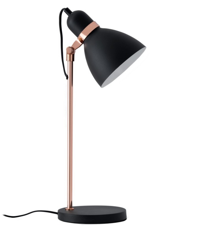 Lámpara sobremesa Grisel de metal color negro y cobrizo