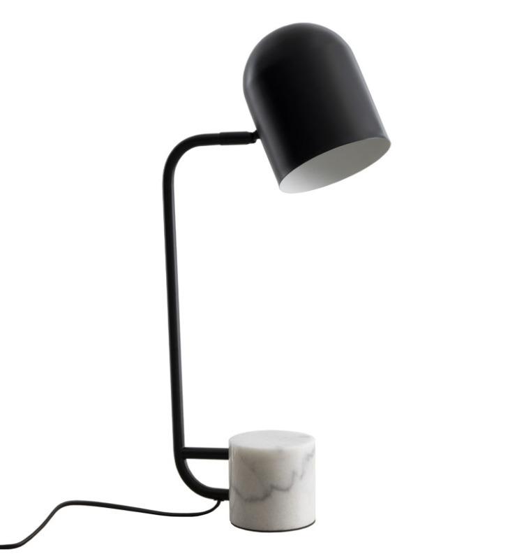 Lámpara sobremesa Cirat en metal negro con base en mármol