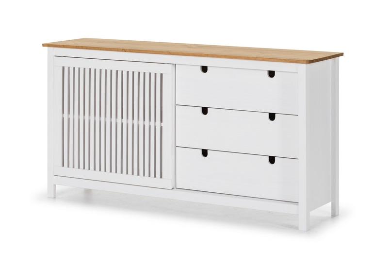 Aparador Bruna madera blanco 150x80