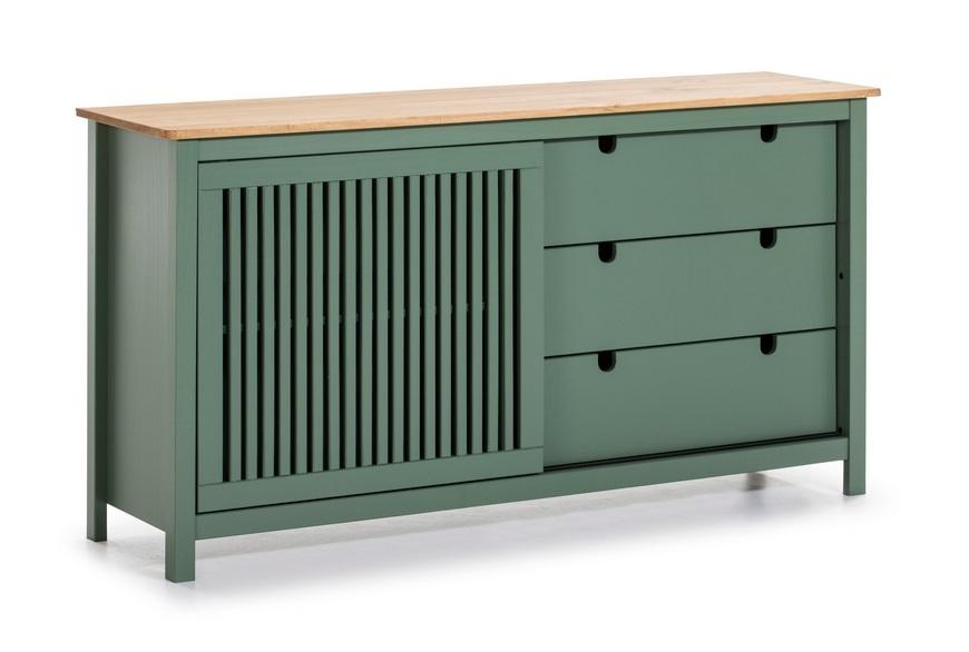Aparador Bruna madera de pino verde 150x80