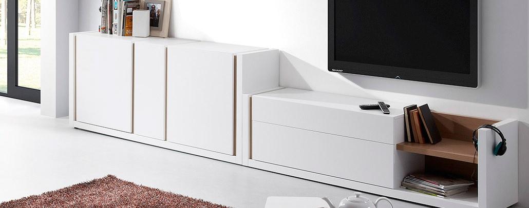 Mueble TV nordic blanco mate roble
