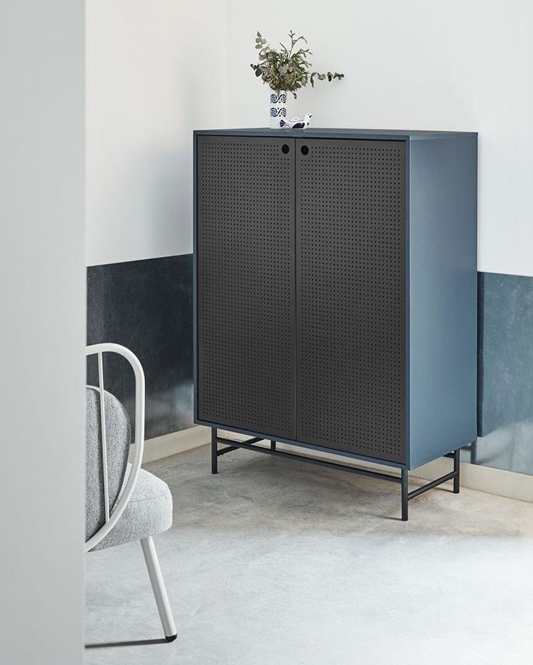 Mueble aparador alto industrial Punto metal negro azul 150x93