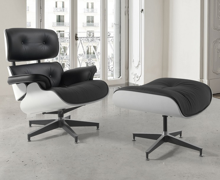 Lounge Chair Eames con ottoman piel negro lacado blanco brillo