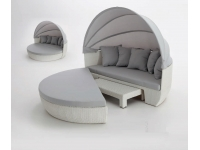 Cama lounge rattan blanco Alpino