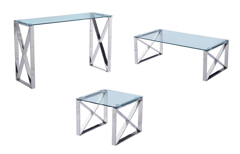 Mesa de centro acero inoxidable cristal Roma 120x60