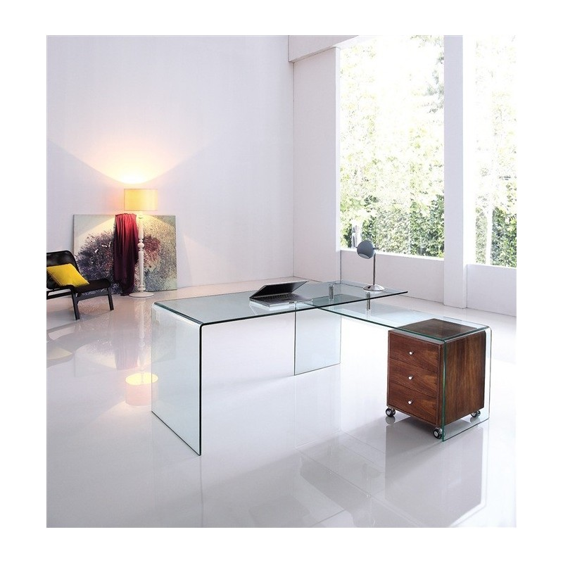 Conjunto de oficina Marta mesa de cristal transparente y mesa auxiliar derecha