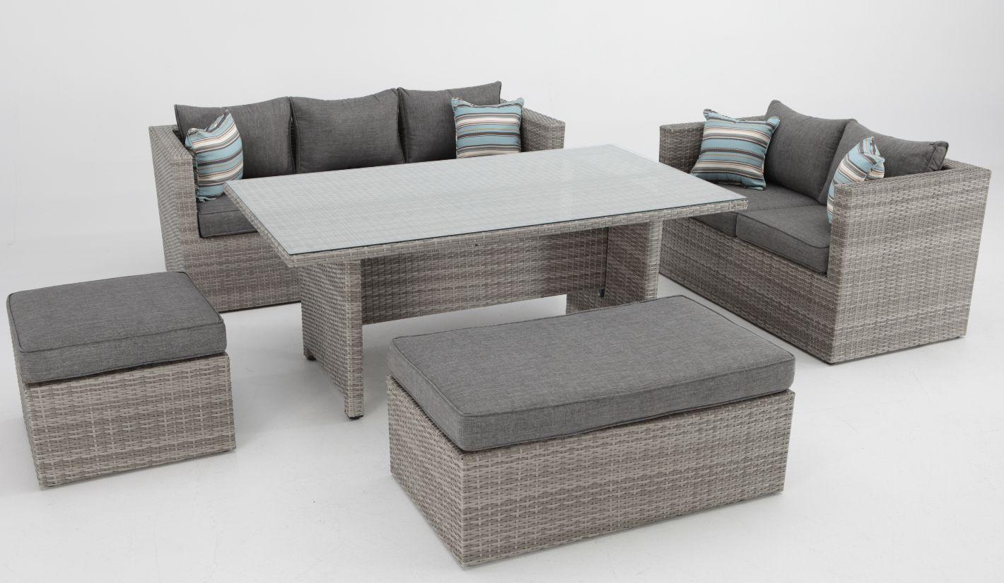 Set sofas de terraza con mesa de comedor rattan Carmel