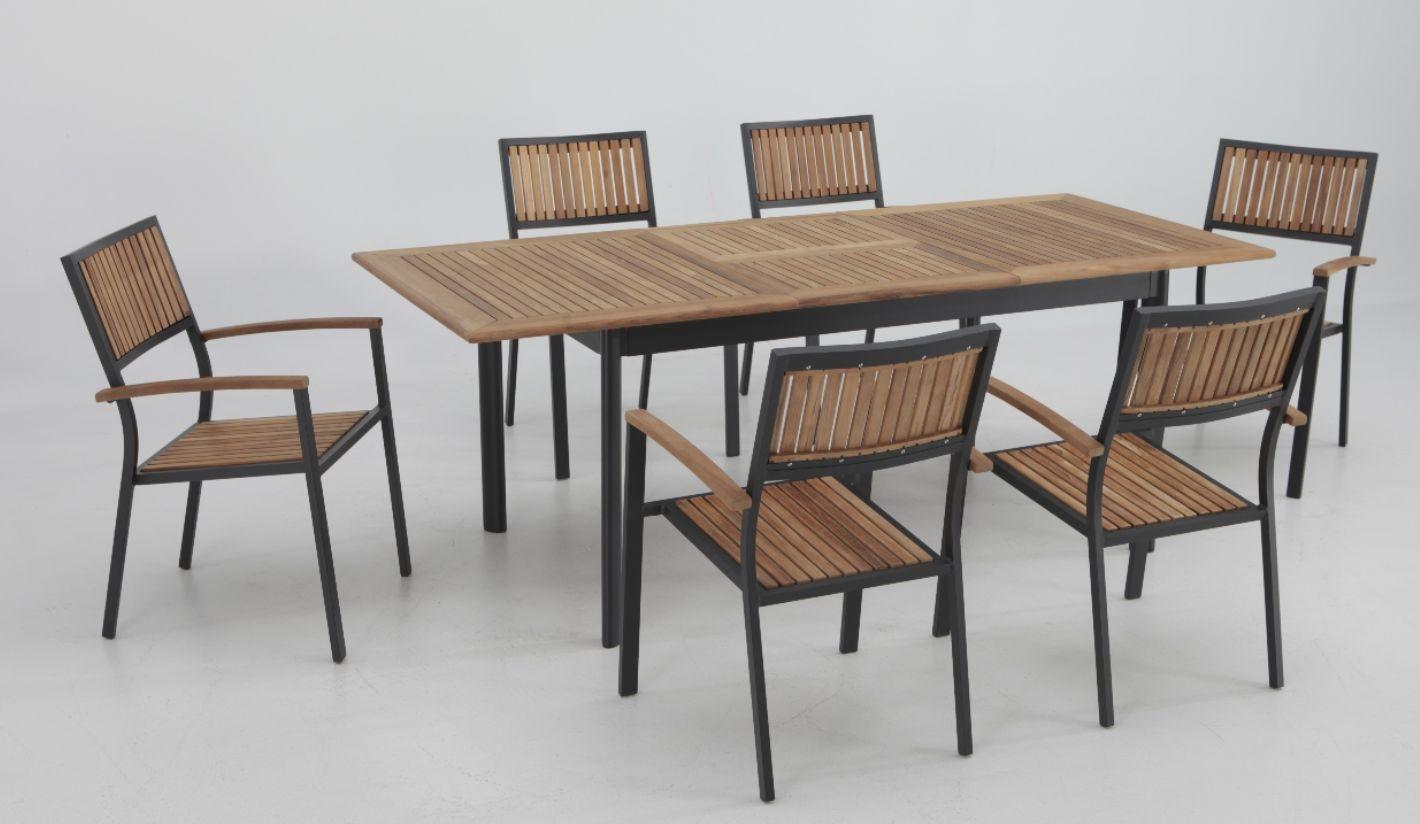 Conjunto terraza Thule teka aluminio mesa extensible 6 sillas