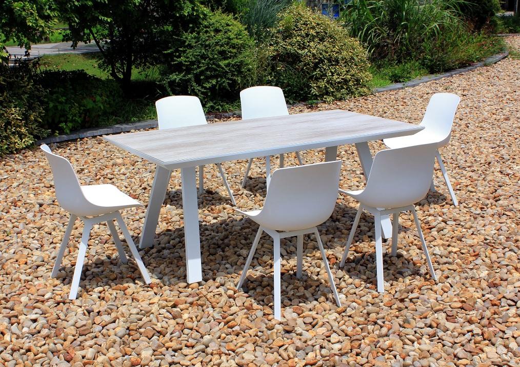 Conjunto de jardin Siena aluminio blanco sobre ceramico