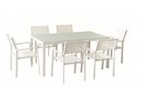 Mesa terraza aluminio blanco Taha 160X90