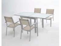 Conjuto de terraza mesa extensible aluminio gris plata Sera