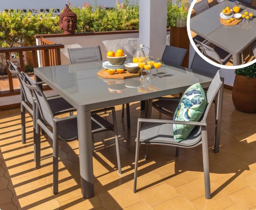 Conjunto de terraza alumnio tortora 8 sillas mesa 140x140