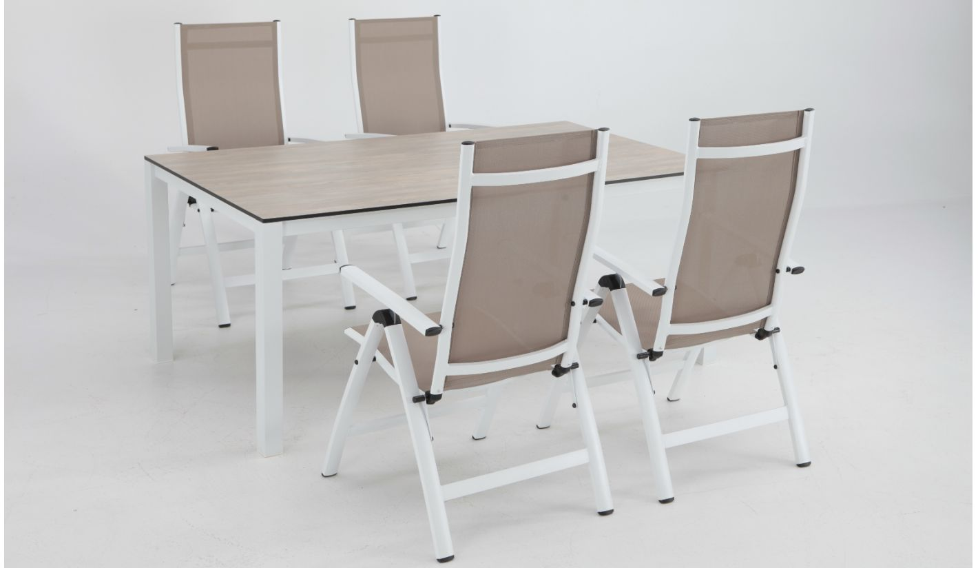 Conjunto terraza Combo imitacion madera sillones posiciones blanco